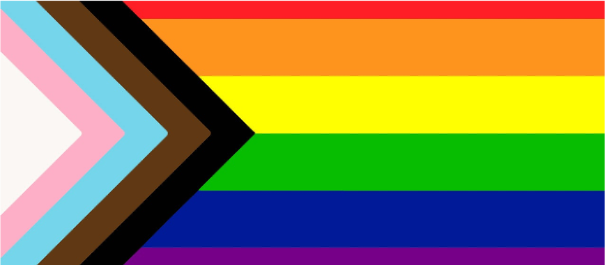 2SLGBTQ Flag with rainbow stripes and trans + BIPOC inclusive stripes