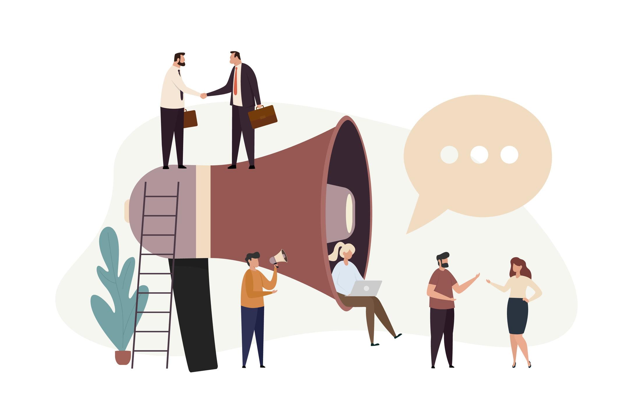 Announce du nouveau président du CA - image décorative de personnes entourées d'un mégaphone gigantesque